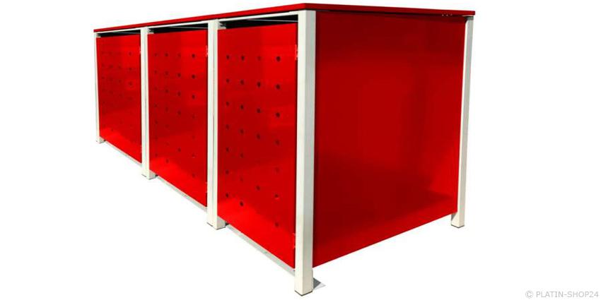 3er 120l metall m lltonnenbox m llbox m lltonnenschrank m llschrank rot neu. Black Bedroom Furniture Sets. Home Design Ideas