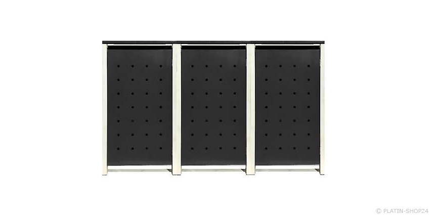 3er 120l metall m lltonnenbox m llbox m lltonnenschrank m llschrank grau neu. Black Bedroom Furniture Sets. Home Design Ideas