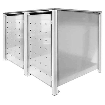 2er 240l metall m lltonnenbox m llbox m lltonnenschrank m llschrank silber neu ebay. Black Bedroom Furniture Sets. Home Design Ideas